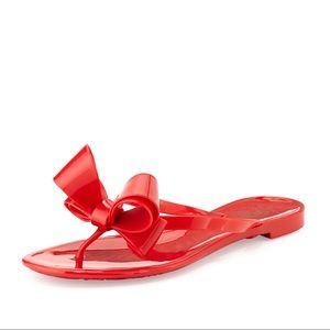 Valentino Couture Bow Jelly Flat Thong Sandal